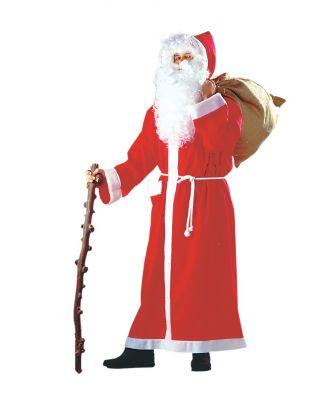 Nikolaus Weihnachtsmann Santa Claus Mantel + Bart + Haarkranz + Jutesack