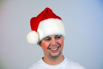 Plüschmütze mit Pompon Weihnachtsmann Nikolaus