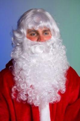 Weihnachtsmann Nikolaus Bart tressengenäht weiß