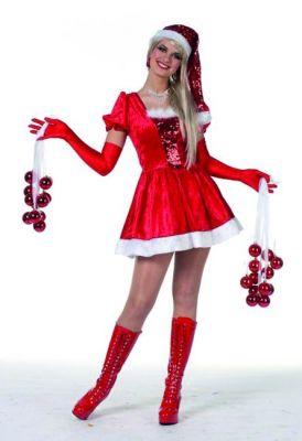 Weihnachtsfrau mit Pailletten Weihnachten Heiligabend Damenkostüm