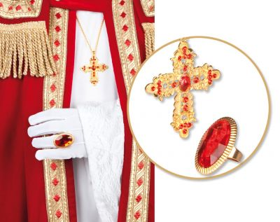 Nikolaus Weihnachtsman Bischof Santa Claus Zubehör Ring und Kreuz