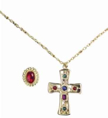 Bischof Nikolaus König Prinz Kette mit Kreuz und Ring