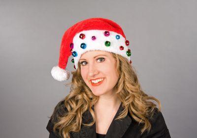 Nikolausmütze Weihnachtsmann Plüschmütze mit Glöckchen Weihnachtself