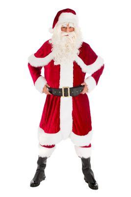 Weihnachtsmann Samt Deluxe mit Umhang Jacke Hose Mütze Gürtel Anzug Handschuhe