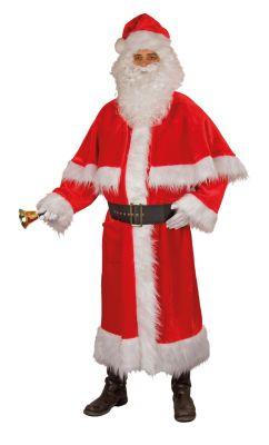 Weihnachtsmann Nikolausmantel Samtplüsch Pellerine und Zottelbesatz Handschuhe