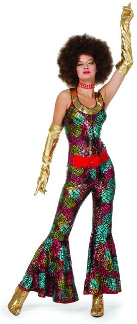 70er 80er 90er Disco Party Catsuit Anzug Schlager Mottoparty 36