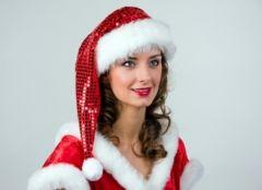 Nikolaus Weihnachtsmann Weihnachtsfrau Mütze mit Glitter und Pai