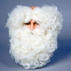 Nikolaus Weihnachtsmann Set Bart + Haarkranz naturfarben