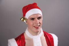 Nikolaus Weihnachtsmann Flanellmütze mit Glöckchen  Weihnachten Heiligabend