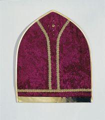 Mitra Sankt Nikolaus weinrote Bischofsmütze aus Pannesamt