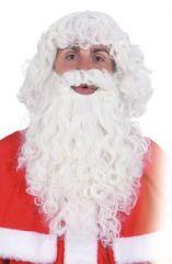 Set Weihnachtsmann Bart Perücke stark gelockt Zubehör Weihnachts