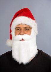 Nikolausmütze mit angenähtem Bart Weihnachtsmannmütze mit Weihnachtsmannbart