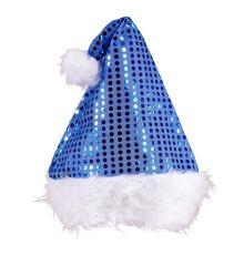 Blaue Plüsch Weihnachtsmannmütze Nikolaus Mütze mit Pailetten besetzt