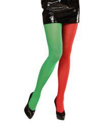 Elf Elfen Weihnachtwichtel Weihnachtself Strumpfhose rot-grün