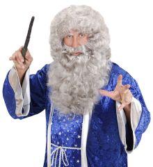 Nikolaus Weihnachtsmann Bart + Perücke grau Zauberer Matrose Seemann