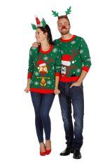 Weihnachtspullover Weihnachtspulli Weihnachts-Shirt Elch Rentierpulli