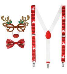 Rudolph Rentier Elch Set 3 teilig Hosenträger Brille Weihnachtsfliege