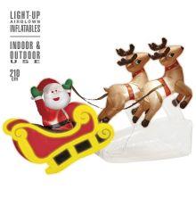 Weihnachtsdekoration Weihnachtsmann mit Rentierschlitten innen und außen
